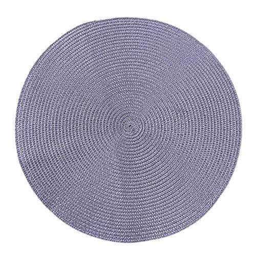 LCZMQRCLMZRQ 2 stuks 3 kleuren 37,5 cm Diameter Rond Weefsel Placemat Mode PP Eettafel Mat Remblokjes Kom Pad Onderzetters Waterdicht Tafelkleed Pad, grijs