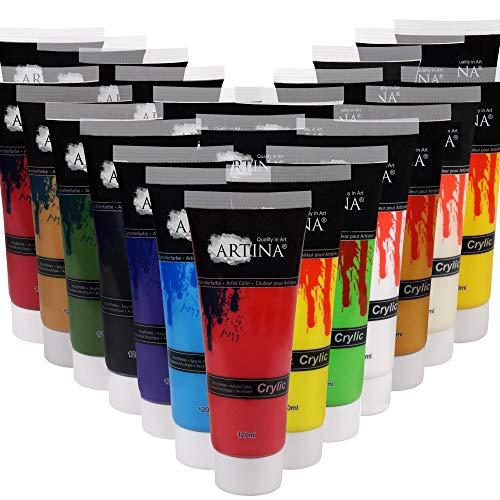 Artina Set de 24 Crylic Colores acrílicos Artistas en Tubos de 120 ml para lienzos & Mucho más