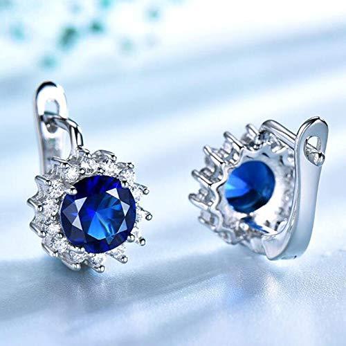 DJMJHG Pendientes de Clip de Zafiro Girasol de Plata de Ley 925 para Mujer, Pendientes Elegantes de Piedra Preciosa Azul de Lujo, joyería