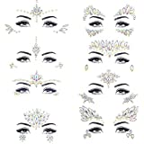 Noctilucent Face Gems Luminous Temporary Tattoo Stickers Acrylic Crystal Glitter Stickers Waterproof Face Jewels Rainbow Tears Rhinestone for Party, Rave Festival, Dress-up of ZLXIN(8 Pcs A Set)