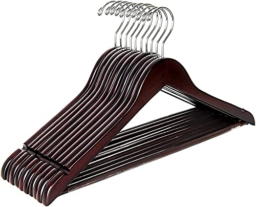 Amber Home 44.5cm Premium Antique Wooden Coat Hangers 10pcs, Retro Wood...