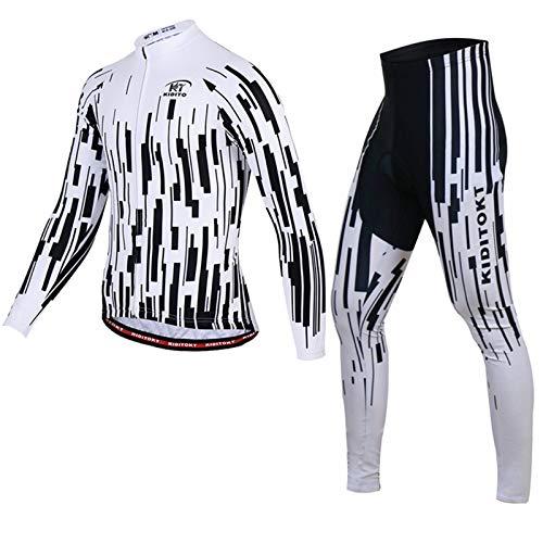 Herren Langarm Radsportanzüge Radtrikot Set MTB Radfahren Kleidung Langärmeliges Fahrradtrikot Atmungsaktiv Elastische Schnell Trocknend mit 3D Gel Sitzpolster Men's Cycling Suit QC-2,ZX6,XXL