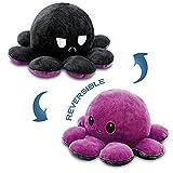 Octopus - Peluche a forma di animale, reversibile, Octopus Plush a manovella, morbido e reversibile, regalo creativo per la famiglia, gli amici (Lila+Nero)