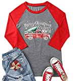 Merry Christmas and Happy New Year T Shirts Women 3/4 Sleeve Tree Truck Splicing Baseball Tee Tops Size S (Gray)