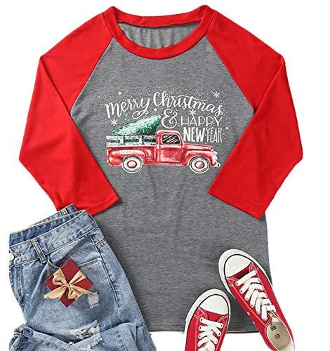 Merry Christmas and Happy New Year T Shirts Women Christmas Tree Truck 3/4 Sleeve Splicing Baseball Tee Tops Gray