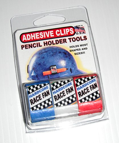 HARD HAT PENCIL HOLDER CLIP tool for carpenter pencils, markers or pens RACE FAN 3 PACK RED WHITE BLUE