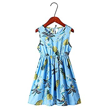 AHAVINTAGE.COM Girls Floral Dress Summer Sleeveless Printing Casual Party Dresses 3-13 Years Sea Blue