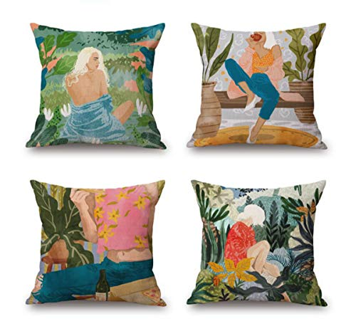 Emvency Set of 4 Linen Throw Pillow Covers 18x18 Inches Home Decorative Cushion Watercolor Beautiful Sexy Woman Forest Plants Pillow Cases Square Pillocases for Bed Sofa