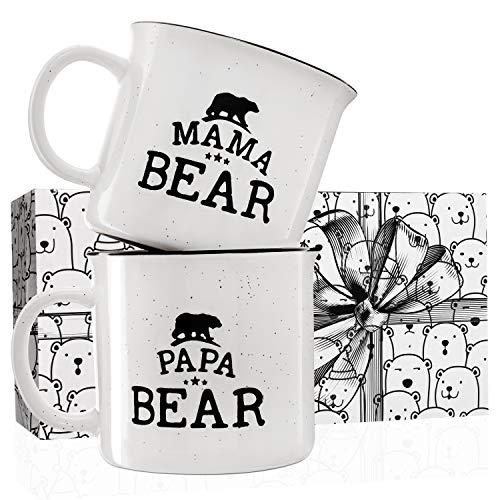 Mama Bear Papa Bear Mug Set - Stoneware Engraved Campfire Ceramic Mugs, Gift for Parents - White - 15 oz, Retro Coffee Mug, Mama and Papa Gifts
