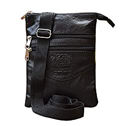 ABYS Genuine Leather Messenger Bag||Passport Holder||Neck Pouch for Men & Women (Black),L.B. PRINERS
