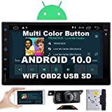 Double Din Car Stereo Android 10.0 Car Radio 2 Din Bluetooth Head Unit 7 Inch GPS Navigation Support SWC/WiFi/3G 4G/Mirror Link/OBD2/USB/TF/1080P/Backup Camera
