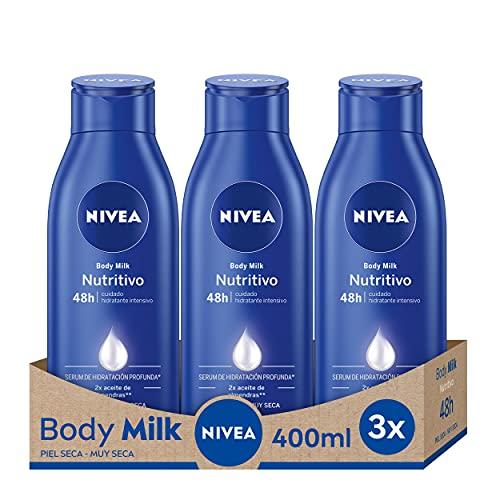 NIVEA Body Milk Nutritivo en pack de 3 (3 x 400 ml), leche corporal para una hidratación...