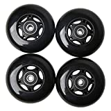FREEDARE Ripstick Wheels 78mm Caster Board Replacement Wheels with Bearings 4PCS(Black&Black)