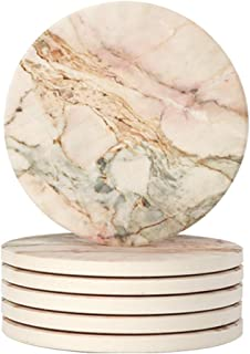 Lahome Marble Pattern Coasters - Round Drinks Absorbent Stone Coaster Set with Ceramic Stone and Cork Base for Kinds of Mugs and Cups (Pink, Set of 6)