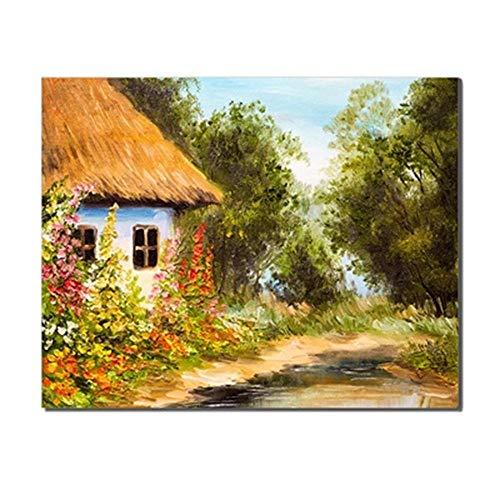 nobrand Vintage boerenhuis tuin bloemenbomen fotoalbum linnen olieverfschilderij voor slaapkamer bruiloft decoratie muurdecoratie Artwork 60x80 cm geen lijst