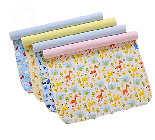 """Monvecle 4pcs Pack Baby Infant Waterproof Cotton Changing Pads Washable Resuable Diapers Liners Mats (4pcs Pack-18""""x12"""")"""