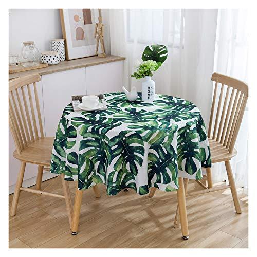 WHQ Runde Tischdecke - Garden Green - Wasser- und staubdichtes Tischtuch aus Baumwollleinen Tischdecke Art Plant Buffet Table, Party, Festliches Dinner Deko Tuch QD (Color : E, Size : 150CM Round)
