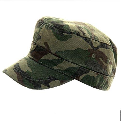 Homme garçons 100% coton Camouflage vert Drap-housse Cadet Casquette - Vert - 58 cm