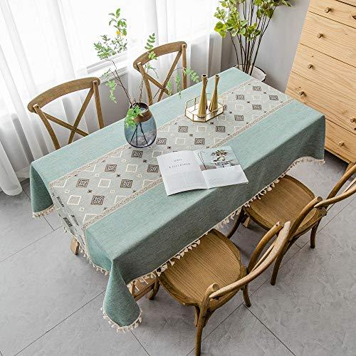 VIVILINEN Tischdecke Rechteck Baumwolle Leinen Tischdecke, Vierkantnähte Quaste Design Rechteck Tischdecken Waschbare Tischdecken für die Küche Esszimmer Tischplatte(140 x 220cm)