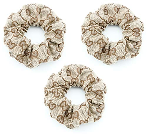 GG Logo Elastic Hair Scrunchies - Designer Style GG Cloth Hair Ties for Girls - Vintage Letter Embroidery Hair Bands for Women - 3Pcs of Pack (GG Letter Style)