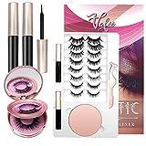 Vafee Magnetic Eyelashes with Eyeliner, 10 Pairs Magnetic eyelashes,Upgrades 3D Magnetic Eyelashes kit, Reusable Eyelashes with 2 Eyeliners, Easy to Carry