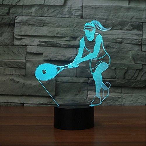 RXHK 3D Tennis Player Luce Notturna Illusione Lampada 7 Cambiamento di Colore LED Touch USB Tavolo Regalo Bambini Giocattoli Decor Decorazioni Natale San Valentino Regalo