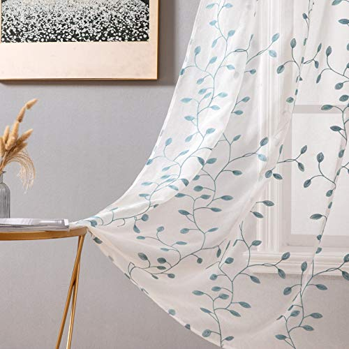 MIULEE Decorative Sheer Curtains with Embroidered Leaf Pattern for Living Room Elegant Grommet Embroidery Window Voile Bedroom Drape 2 Panels 54 x 63 Inches Blue