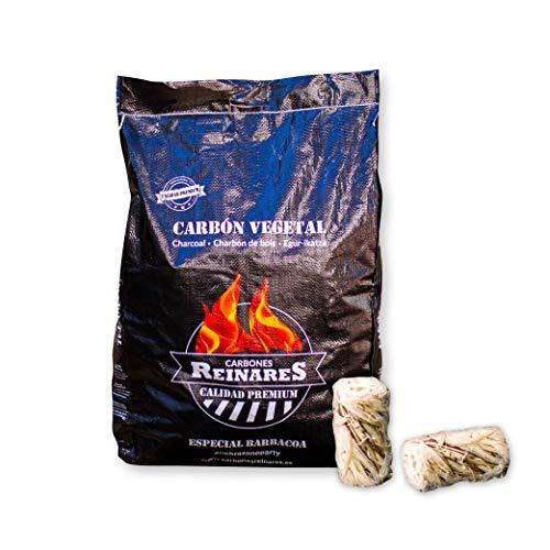 Carbon Vegetal Barbacoa Natural sin Humo carbones para barbacoas Alto Poder calorifico (Carbón Vegetal + Encendedores, 1 Saco + 2 Encendedores)