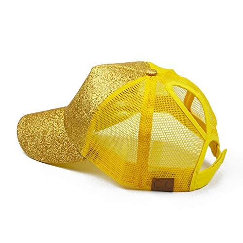 sdssup Gorra de béisbol con Cola de Caballo de Apertura Posterior Gorra de Malla con Purpurina 2 con Amarillo Diamante sin estándar Ajustable