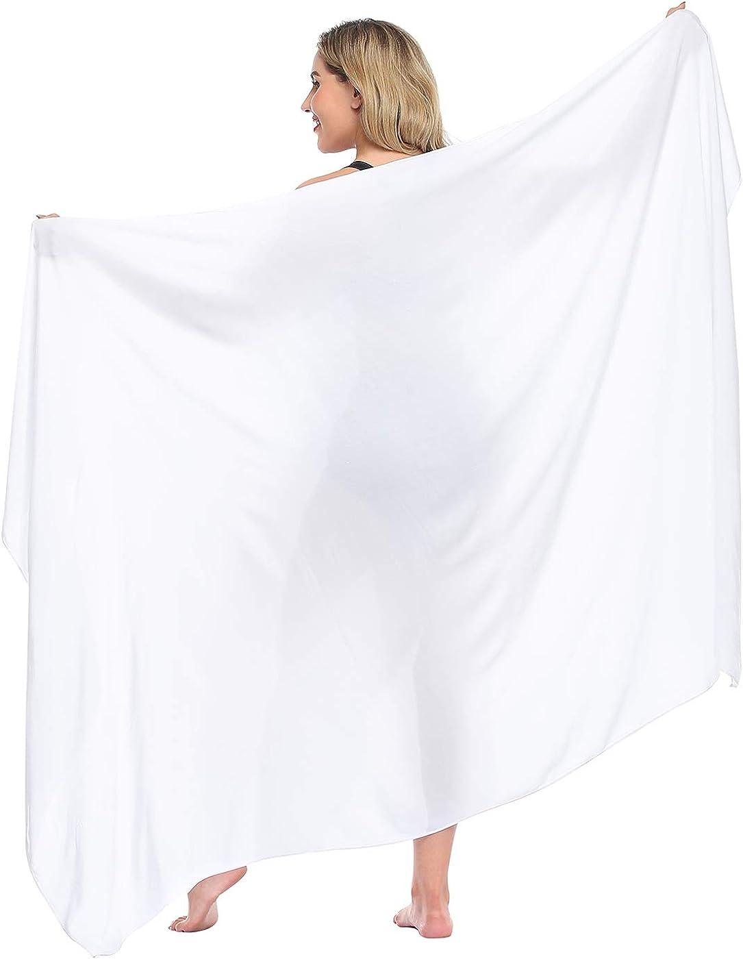 HDE Plus Size UPF 30+ Pareo Swimsuit Cover Up Fringeless Sarong Sun Shawl Wrap