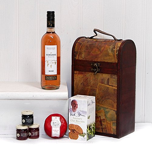 The Clarendon Wine & Cheese Vintage Chest Hamper with Versare Rosé Wine 750ml from the Fine Food Store Gift ideas for – Christmas,Fathers Day, Mothers Day, Valentines, Presents, Birthday