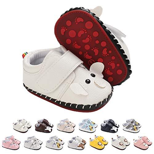 Zapatos Bebe Niña Niño, Zapatillas Bebe Primeros Pasos Animal de Dibujos Animado Lindo Zapatos de Cuero PU Zapatos de Casa Diarios Confort Ligero Antideslizante Zapatos Recien Nacido 0-18 Meses