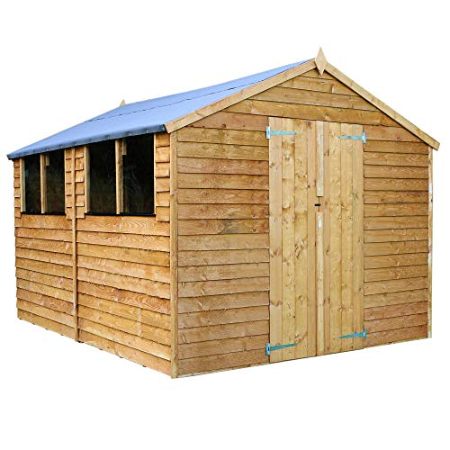 WALTONS EST. 1878 Wooden Garden Shed 12x8 Outdoor Storage Overlap Building, Apex Roof (12 x 8 / 12Ft x 8Ft)