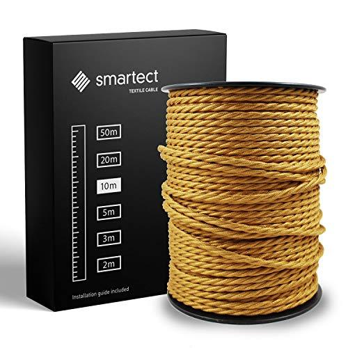 smartect Textilkabel Gold - 10 Meter Vintage Lampenkabel aus Textil - 3-Adrig (3 x 0.75 mm²) - Stoffummanteltes Stromkabel für DIY Projekt