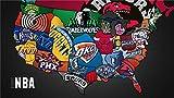 UYTRE adultos puzzle 1000 piezas,3D madera Juguetes juegos Niño niña regalo cumpleaños,Logotipo del equipo NBA/Producto terminadoTamaño total: H-50 cm x M/B-75 cm