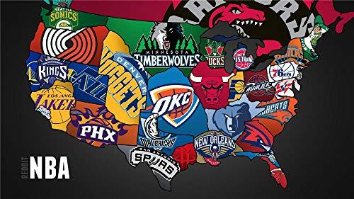 adultos puzzle 1000 piezas,3D madera Juguetes juegos Niño niña regalo cumpleaños,Logotipo del equipo NBA/Producto terminadoTamaño total: H 50 cm x M/B 75 cm