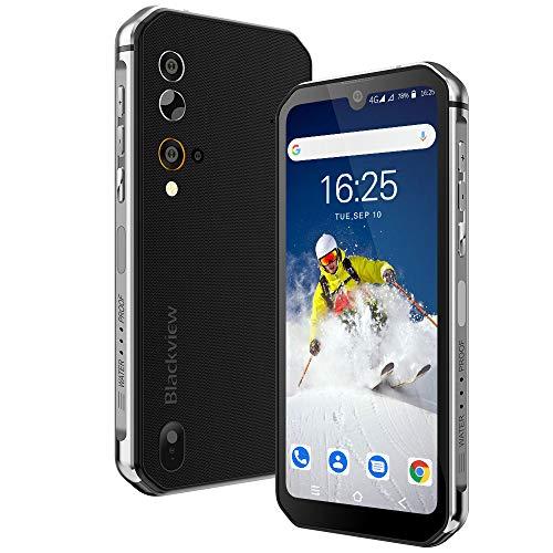 Móvil Resistente, Blackview BV9900E Android 10 Impermeable Smartphone 4G, 6GB+128GB, 128GB SD, 48MP+16MP, Helio P90 Octa-Core, IP68 IP69 Móvil Libre Antigolpes, Carga Inalámbrica NFC Face ID GPS