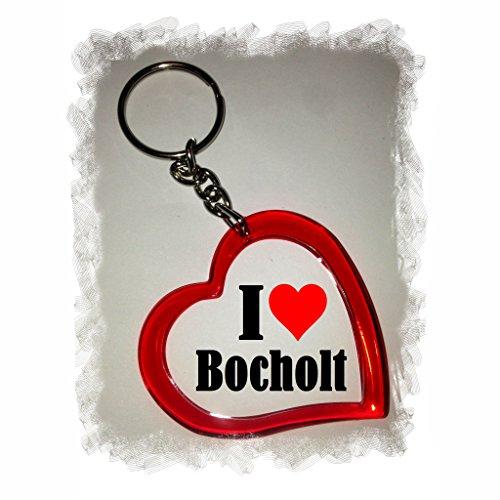 Druckerlebnis24 Herz Schlüsselanhänger I Love Bocholt - Exclusiver Geschenktipp zu Weihnachten Jahrestag Geburtstag Lieblingsmensch