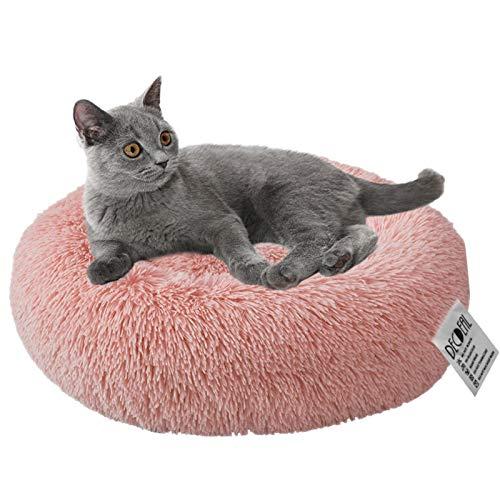 Decdeal Cuccia per Gatti Ciambella per Animali Domestici Morbido Peluche Tondo per Animali Domestici Gatto Morbido Lettino per Gatti per Cani, 40/50/60/70CM, Rosa