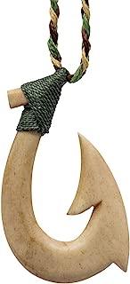 Earthbound Pacific Aged Bone Stylized Maori Hawaiian Fish Hook Necklace