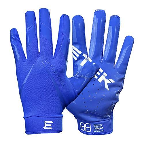 Kids EliteTek RG-14 Super Tight Fitting Football Gloves - Youth Sizes - Easy Slip On Design No Wrist Strap (Blue, Youth XXS)