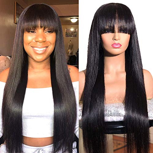 Wingirl Straight Human Hair Wigs with Bangs 150% Density Non Lace front wigs human hair For Black Women Glueless Machine Made Wigs Natural Color (18inch, Natural Color)