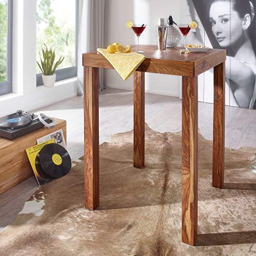 FineBuy Bartisch Massivholz Sheesham 80 x 80 x 110 cm Bistro-Tisch modern Landhaus-Stil Holz-Steh-Tisch quadratisch dunkel-braun Natur-Produkt Massiv-Holz-Möbel Hausbar Esstisch Echt-Holz unbehandelt - 2