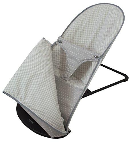 Funda y saco para hamaca babybjörn balance soft (sustituye tapicería original). Topitos/vichy gris
