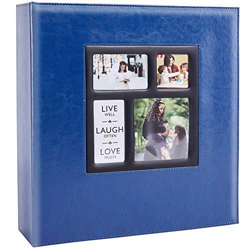 Ywlake Fotoalbum Einsteckalbum 10x15 1000 Fotos, Vintage Leder Groß Hochzeit Familie Fotoalbum zum Einstecken Schwarze Seiten für 1000 Pocket Bilder Blau