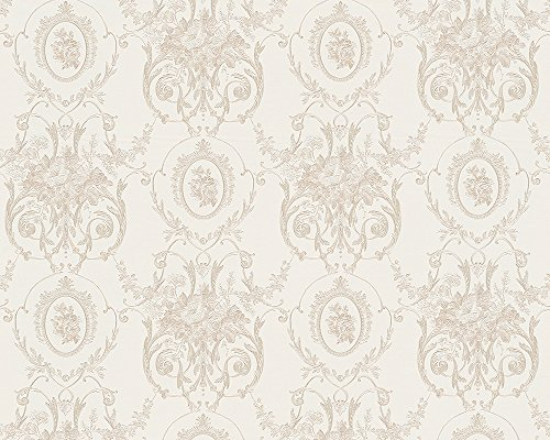 Tapete Chateau 4 AS Création Satintapete 95493-1 Barock Floral weiß creme