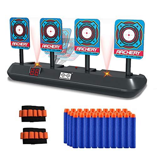 Objetivos de tiro digitales con lanzador de tiro de juguete de dardos de espuma, 4 objetivos, juguetes de puntuación electrónicos de reinicio automático para Nerf N-Strike Elite / Mega / Rival Series