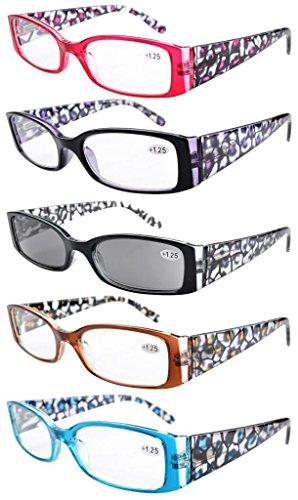 Eyekepper 5er-Pack Lesebrille mit Federscharnier Fassung in Blumen muster inklusive Sonnenbrillen +1.50