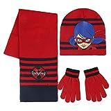Miraculous, las aventuras de Ladybug y gato negro, juego de 3 piezas, gorro de invierno, guantes de Ladybug