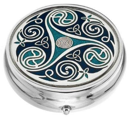Sea Gems presented by Celtic Glass Designs Pill Box (Standard Size) in a Triskeles and Trinity Knot Design in Blue Color